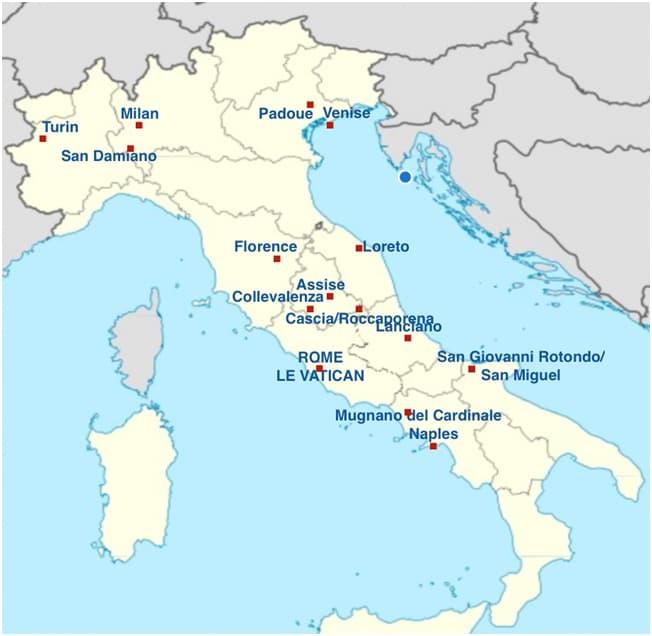 Carte Italie Assise.Italie Circuit Villes Saintes Pelerins Du Monde